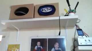 This Video Previously Contained A Copyrighted Audio Track. Due To A Claim By A Copyright Holder, The Audio Track Has Been Muted.     6x9's 3-way Caos Speakers First Test - Home Made Box Sealed 10 Liters