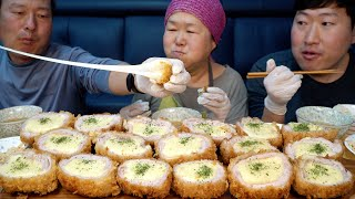 Handmade Pork cutlet with Cheese - Mukbang eating show