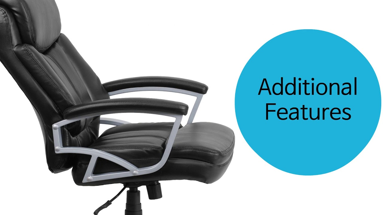 Husky Office Heavy Duty 500 Lb Capacity Big Tall Black Leather Chair With Lumbar Support