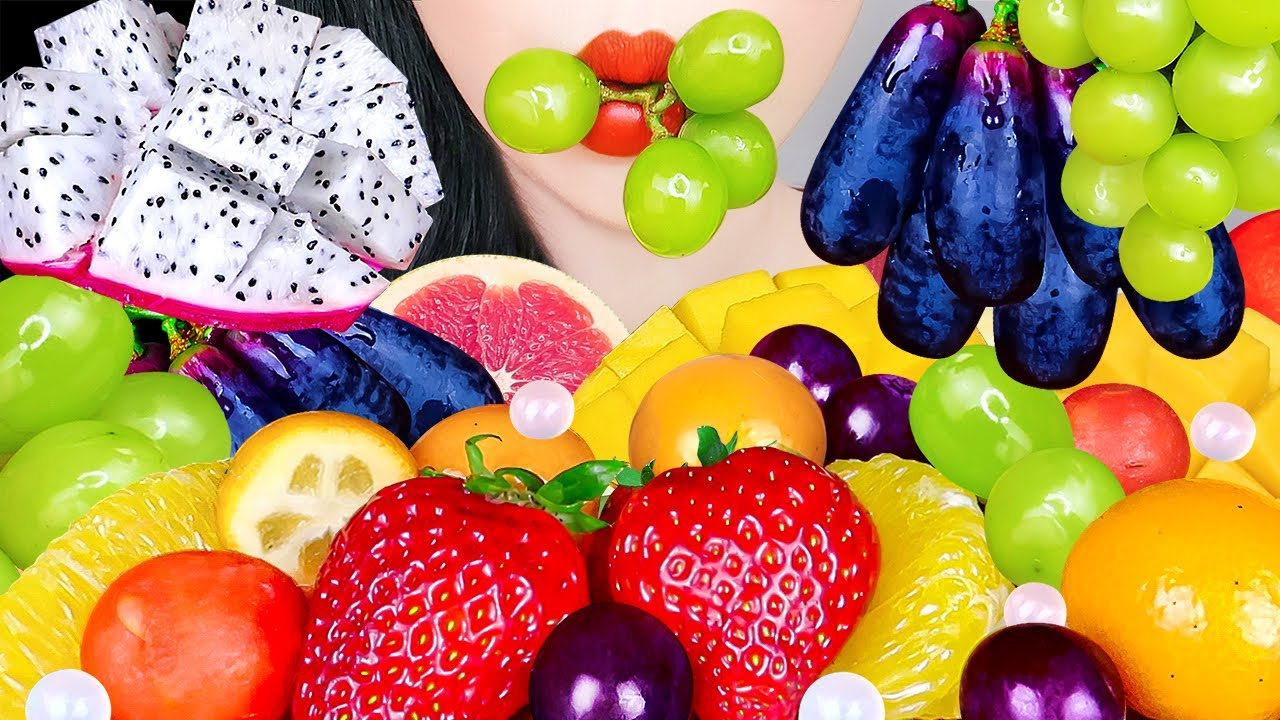 ASMR EXOTIC FRUITS PLATTER 과일 먹방 STRAWBERRY, WATERMELON, DRAGON FRUITS, MANGO, GRAPE EATING SOUNDS