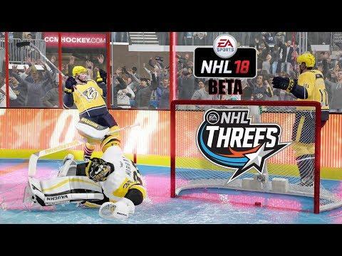 NHL 18 Beta NEW MODE! NHL Threes (3 vs 3) Pittsburgh Penguins vs Nashville Predators Gameplay