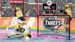 NHL 18 Beta NEW MODE! NHL Threes (3 vs 3) Pittsburgh Penguins vs Nashville Predators Gameplay