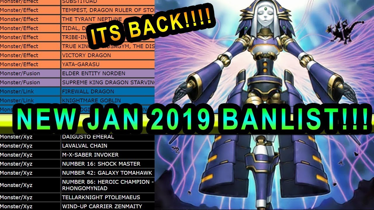 NEW YUGIOH BAN LIST IS OUT! JAN 2019 BANLIST FOR TCG YUGIOH! Discussion And  Thoughts