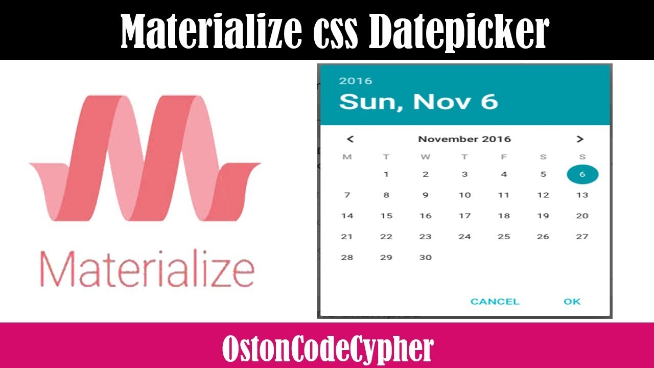 How to create a Date Picker using Materialize css - Very Simple