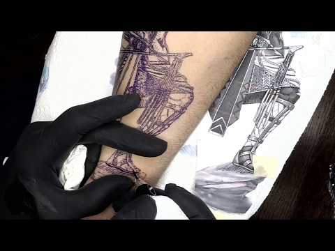 How to tattoo REALISTIC B&G,  Real time tattooing ,  Egyptian Sleeve  Cris Gherman