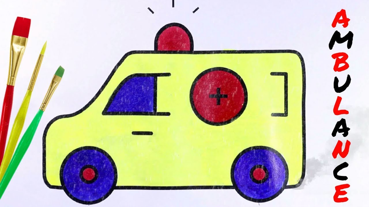 Ambulance Drawing easy | Learn How to Truck Colouring ...