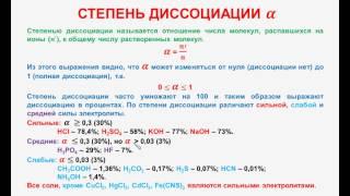 № 85. Неорганическая химия. Тема 10. Электролитическая диссоциация. Часть 6. Степень диссоциации
