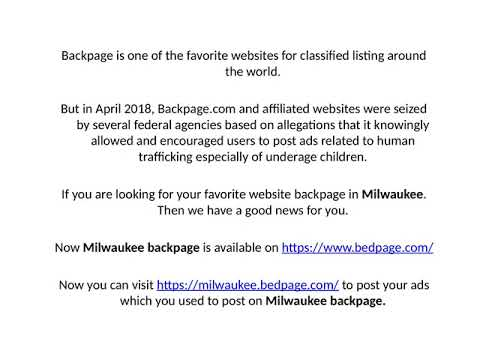 Com www milwaukee backpage Massage