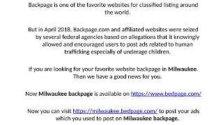 Www milwaukee backpage com