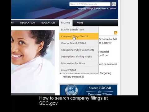 Search Company Filings At SEC.gov