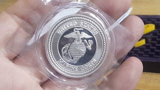 Making A US Marines Pure Silver Coin Ring. Size 10.5. Fun!