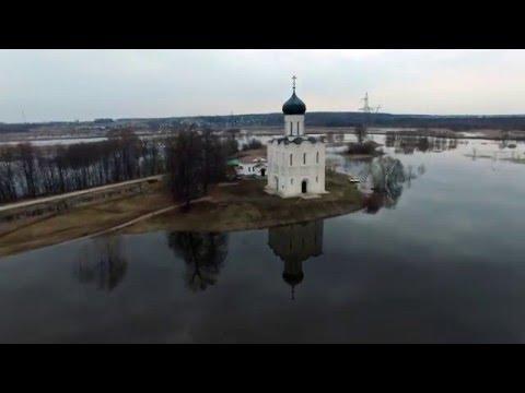 Покрова на Нерли - Разлив, Church of the Intercession on the Nerl, DJI Phantom 3