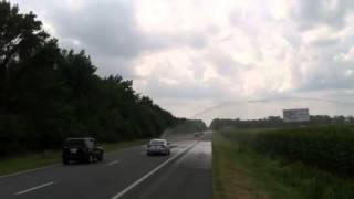 Rt 50 west cars hit by farm sprinkler