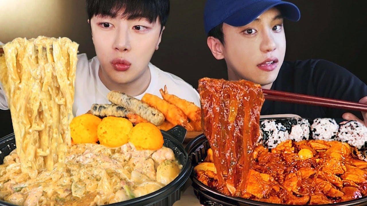 SUB)친구랑 꾸덕꾸덕 매콤한 두찜 트러플 크림찜닭 먹방 💛 (ft. 불마왕불닭🥵💦) Cream & Spicy Jjimdak Mukbang