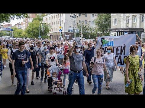 شاهد: مظاهرات في خاباروفسك للمطالبة بإطلاق سراح حاكم الولاية المحتجز بتهمة القتل …  - نشر قبل 3 ساعة