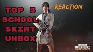 PUBG - TOP 5  SCHOOL SKIRTS UNBOXINGS W/ REACTIONS!!
