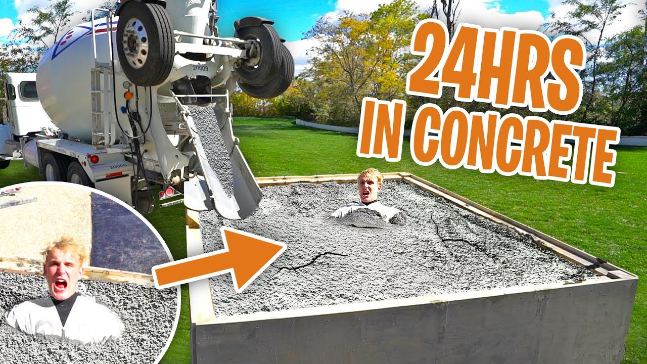 I Spent 24hrs BURIED IN SOLID CONCRETE!! (bad idea)