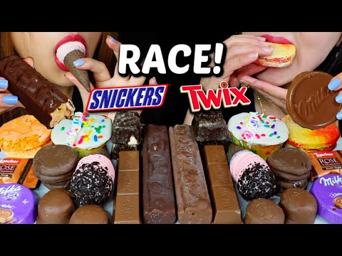 ASMR LEFTOVER CHOCOLATE DESSERT RACE EATING CHOCOLATE ICE CREAM, CUPCAKE, OREO 먹방   Kim&Liz ASMR
