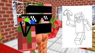 Monster School : DRAWING CHALLENGE - Minecraft Animation