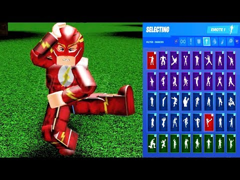 ROBLOX THE FLASH Skin Showcase With All Fortnite Dances & Emotes