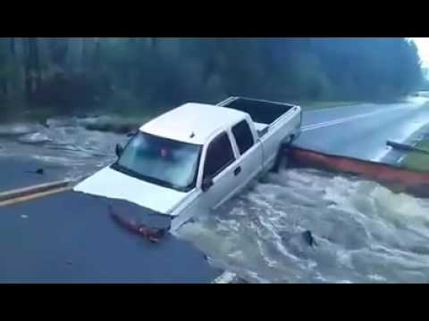 Flood Waters Wash Away Section of Road in North Carolina