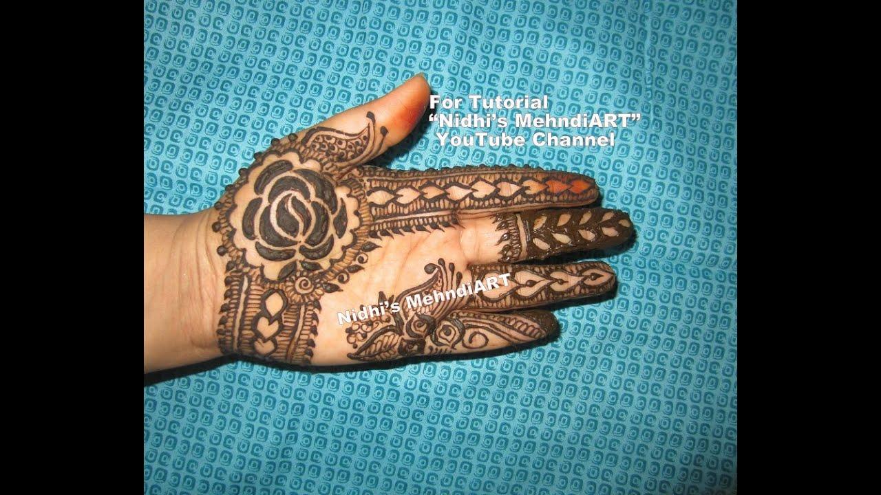 Trendy Rose Flower with Strip Front Hand Henna Mehndi Design ...