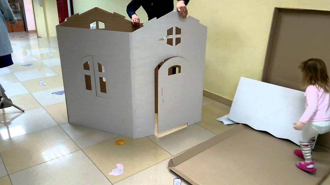Как сделать Кукольный домик из картонных коробок Из бумаги Подарки .