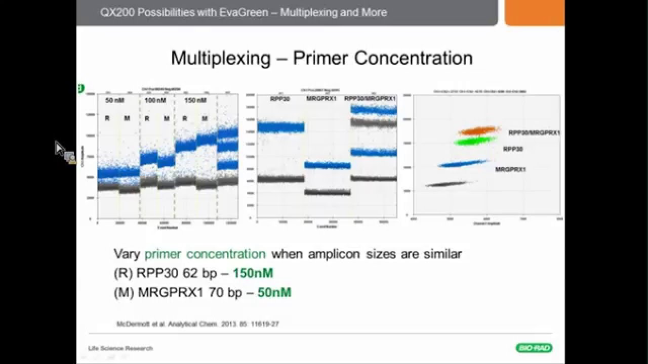 Droplet Digital Pcr Assays How To Design A Multiplex Experiment With Evagreen Youtube