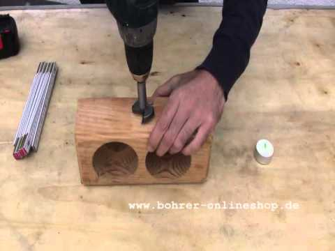 howto bohren mit forstnerbohrern in holz youtube. Black Bedroom Furniture Sets. Home Design Ideas