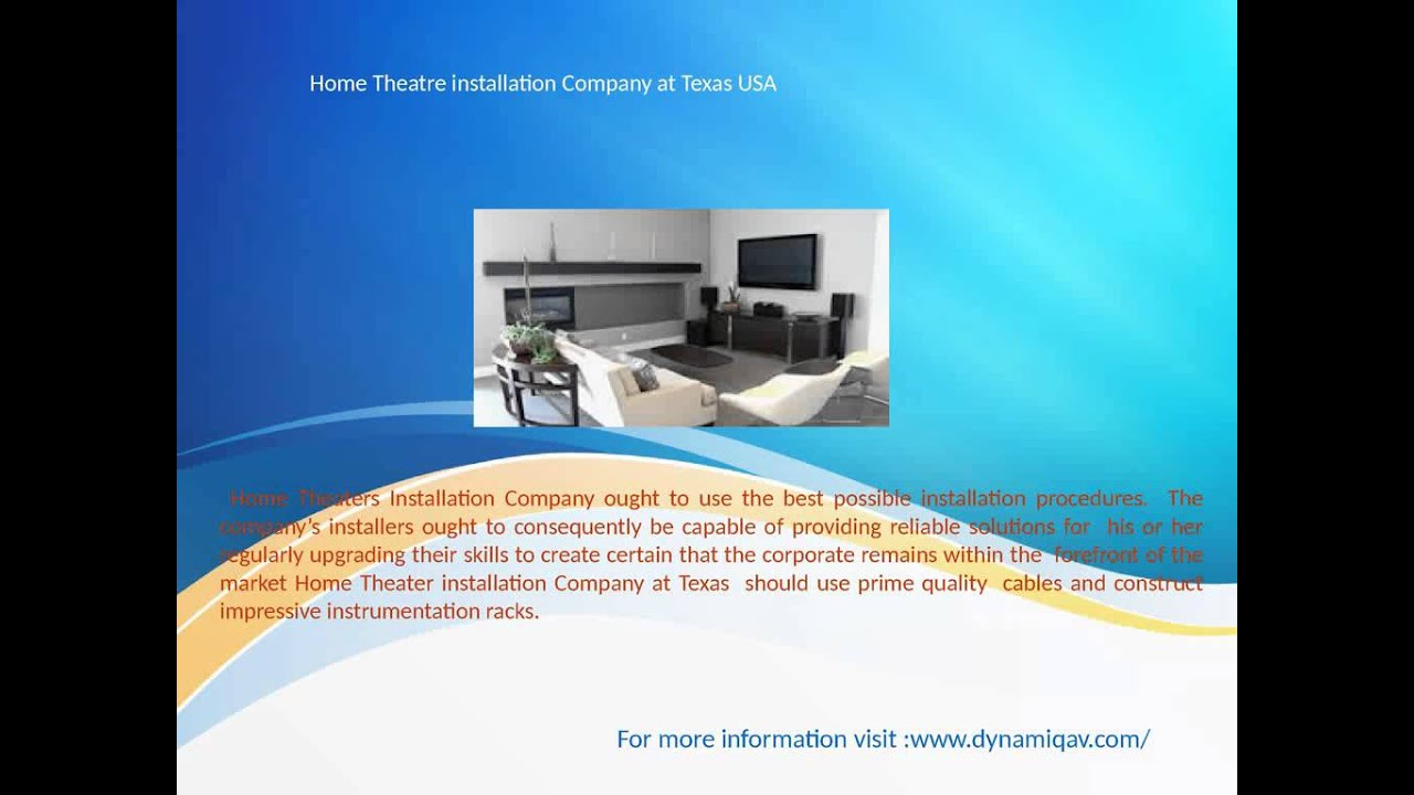 Home Theatre installation Company at Texas USA - YouTube