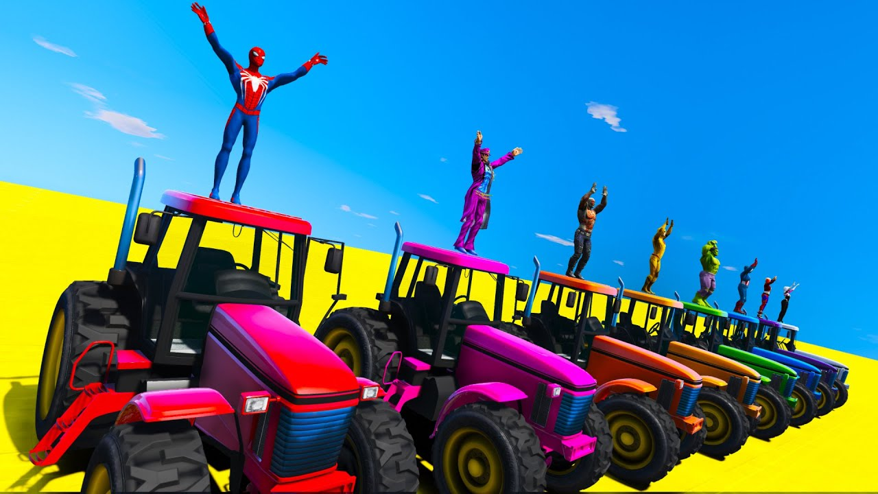 Desafio na Trator com Homem Aranha e SuperHeróis! Spiderman Cool Tractor Challenge - GTA 5 MODS