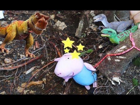 Peppa Aventuras salva a George del agujero de los dinosaurios