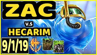 METAPHOR ZAC Vs HECARIM 9 1 19 KDA JUNGLE CHALLENGER GAMEPLAY NA