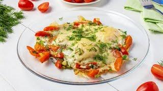 Яичница с помидорами и сыром на сковороде видео рецепт