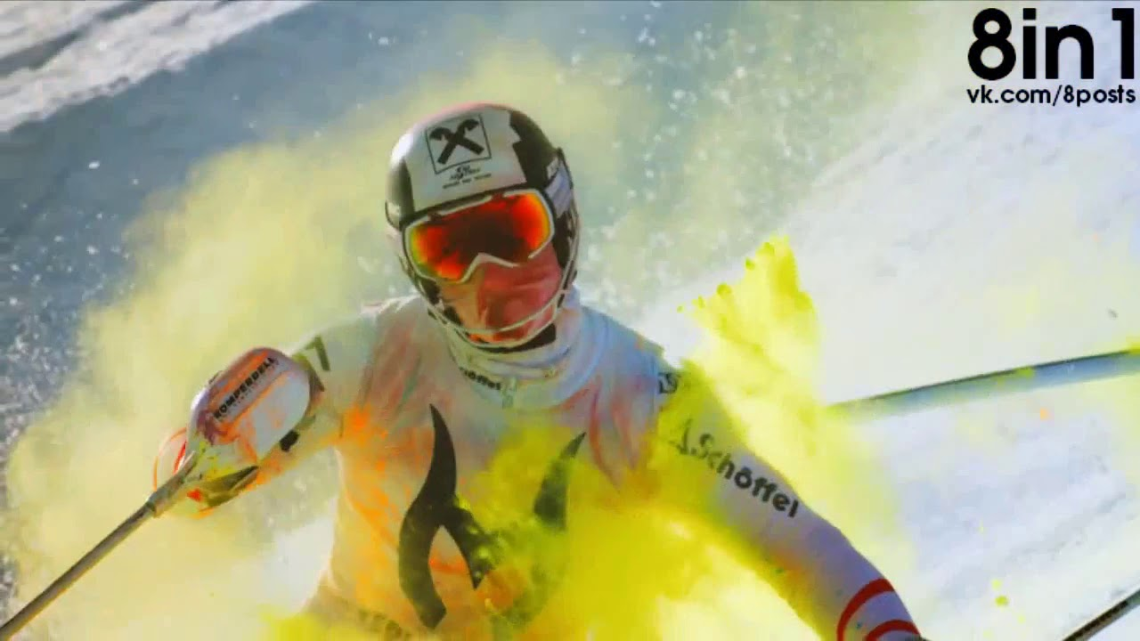 Яркий спуск на лыжах от горнолыжника Марселя Хиршера   Skiing in Colour