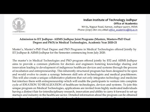 phd,-masters-and-masters-phd-dual-degree-programs-in-medical-technologies-by-iit-jodhpur-&-aiims
