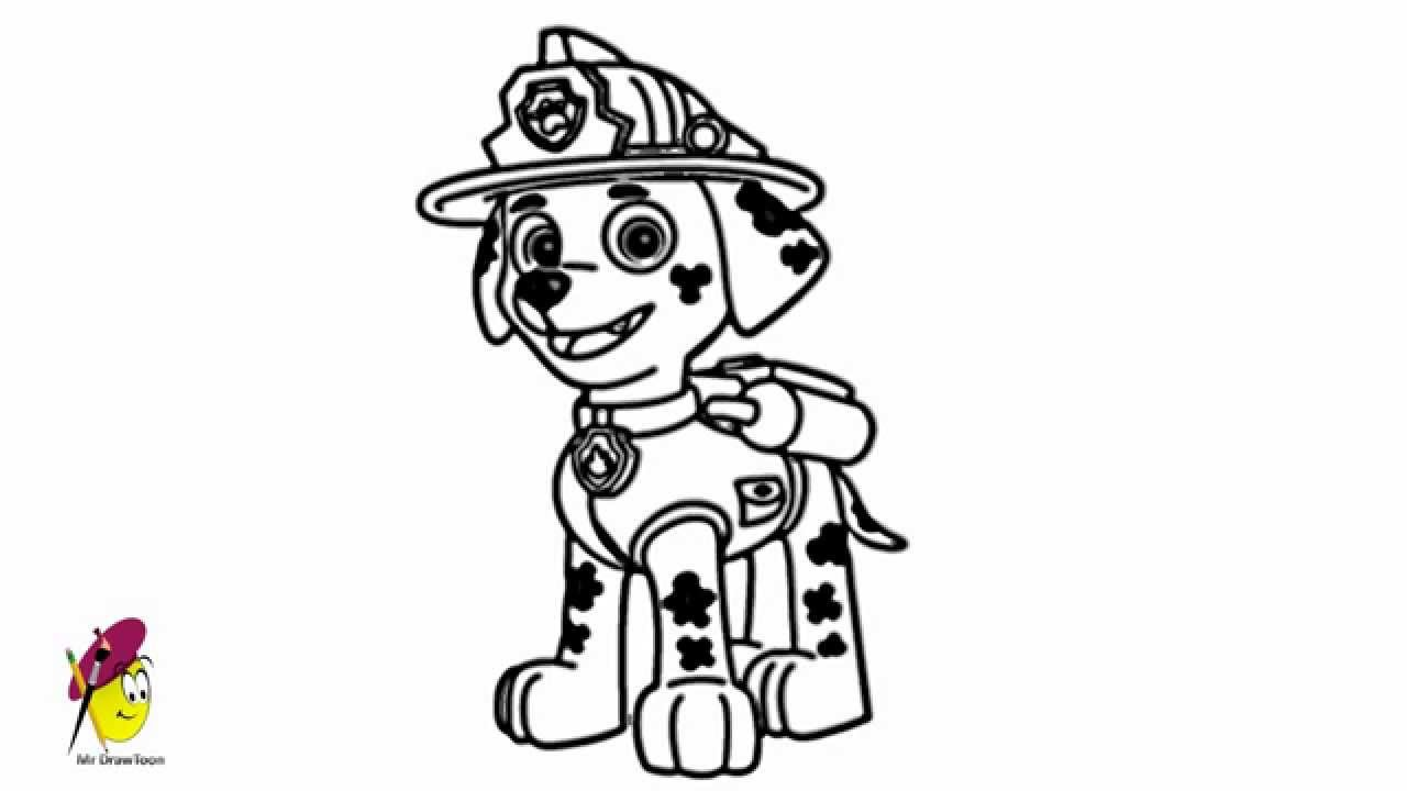Marshall Paw Patrol How to draw Marshall from Paw Patrol YouTube