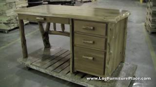 Cedar Lake Log File Desk | Cabin Office Furniture At Jhe's Log Furniture Place