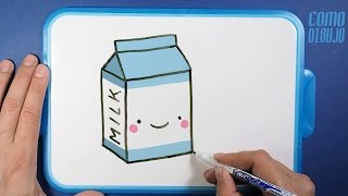 Como Dibujar Caja de Leche Kawaii paso a paso | How to Draw a Milk Carton
