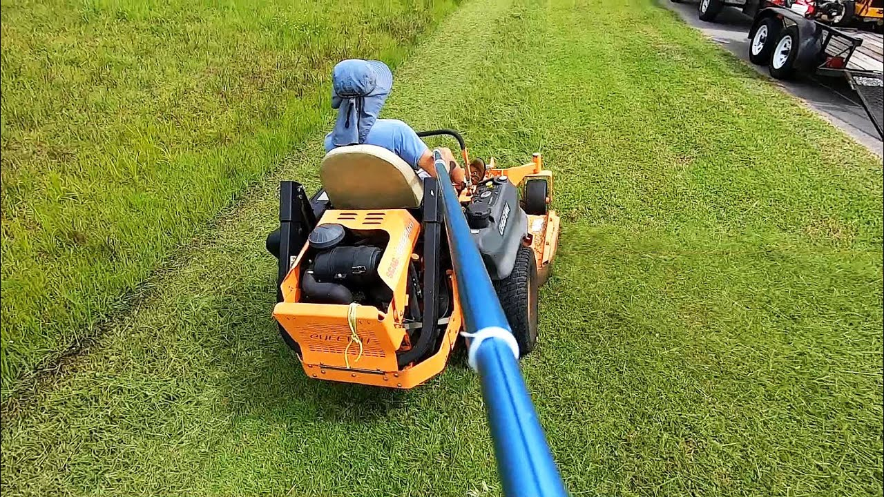 Mowing with a 9 foot selfie stick!