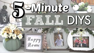 Dollar Tree FALL DIYs in 5 Minutes | Fall Farmhouse Decor DIYs