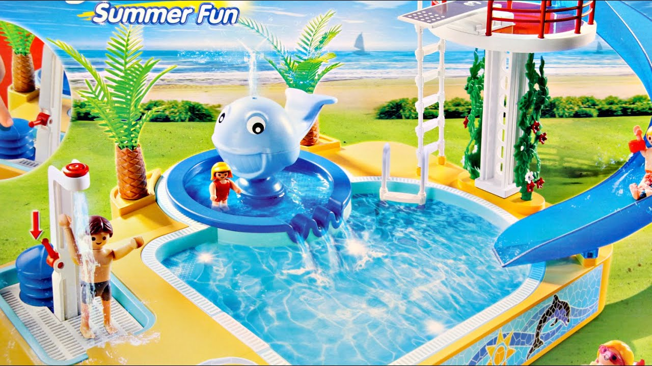 Childrens pool with whale fountain aqua park z fontann - Playmobil swimming pool best price ...