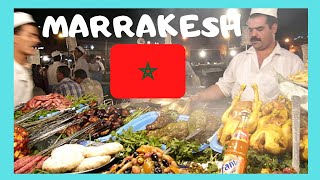 MARRAKECH: EXPLORING the NIGHT FOOD STALLS, the central square of JEMAA EL FNA