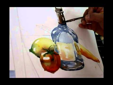 Water color tutorial-still life ( glass bottle , lemon , tomato , carrot ) สอนวาดสีน้ำขวดแก้วใส