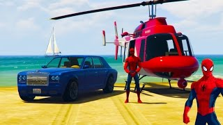 LUXURY Cars and Helicopter For Kids in Spiderman Cartoon for Children with Nursery Rhyme Songs