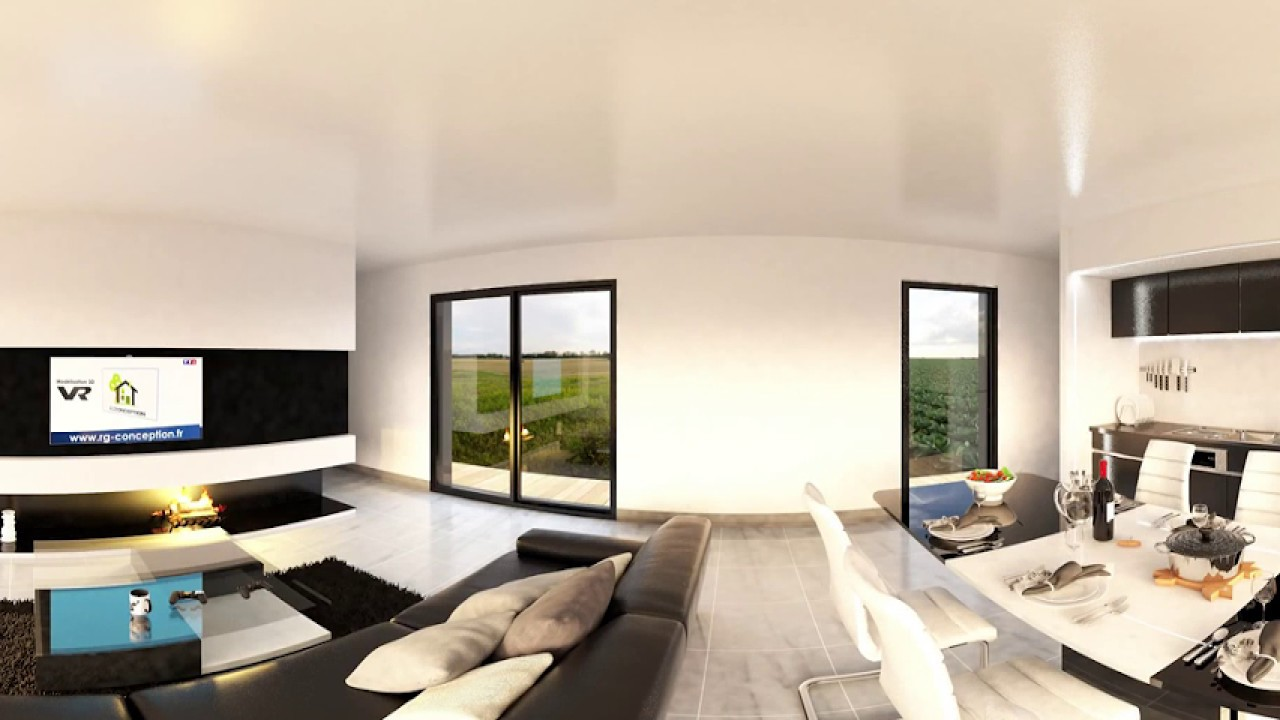 Visite virtuelle d\'une maison moderne 360° VR - YouTube