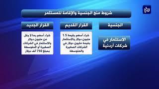 قرارات جذب الاستثمارات من خلال منح الجنسية الأردنية للمستثمر  -(3/10/2019)