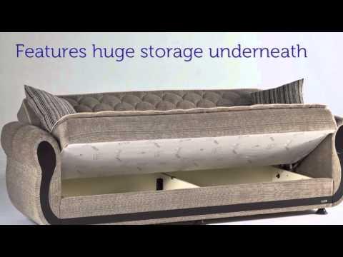 ARGOS Zilkade Three Seat Sofa Sleeper With Storage In Light Brown