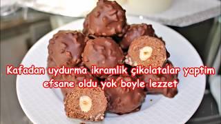 Kafadan uydurma bi tarif yaptim efsane oldu yok boyle lezzet !!! ikramlik çikolatali toplar