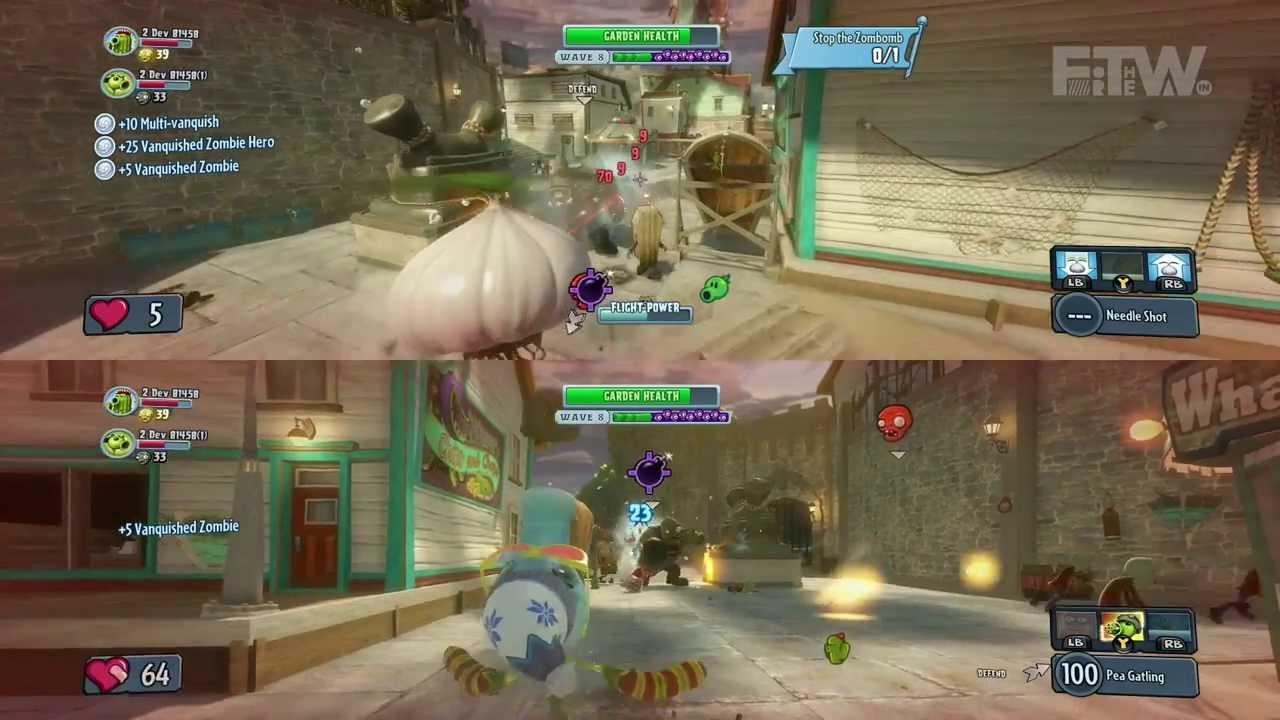 Plants vs. Zombies Garden Warfare - Split Screen Gameplay and Boss ...